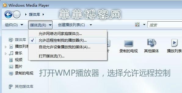 手动开启WMP的允许远程播放功能