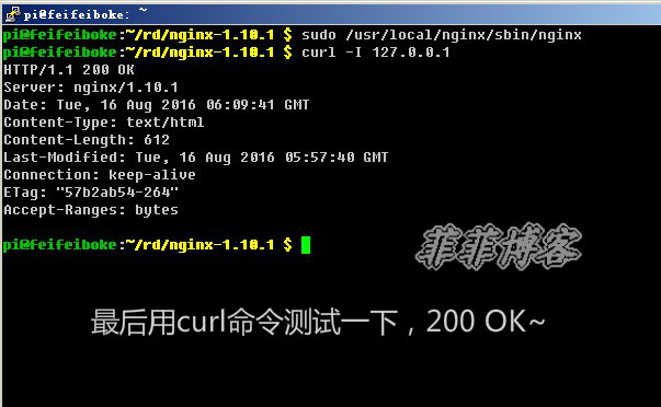 最后用curl命令测试一下,返回200 ok
