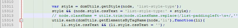 查找 15313 行 node.className 开头的代码,注释掉即可